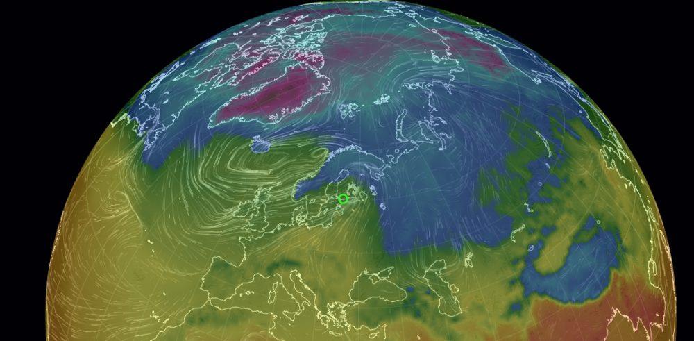 Mista Nyt Tuulee Loistava Interaktiivinen Kartta Maailman Tuulista