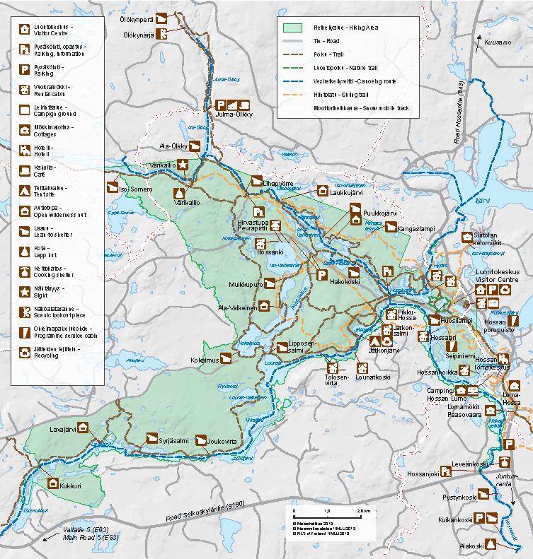 Hossan retkeilyalueen kartta. Metsähallitus.