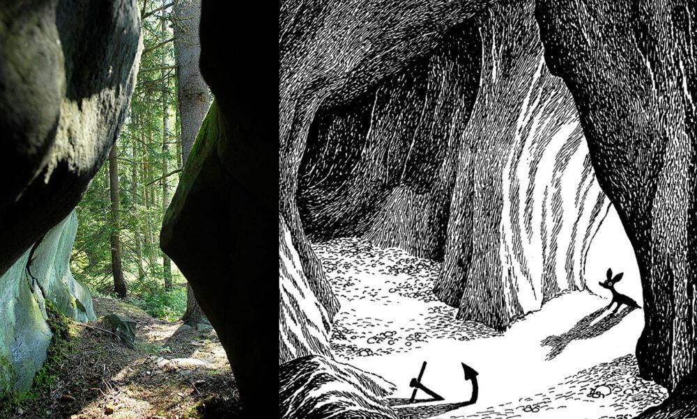 Muumipeikko ja pyrstötähti -kirjan luolan esikuva löytyy Pellingistä